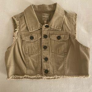 Ladies Cropped Distressed Vest